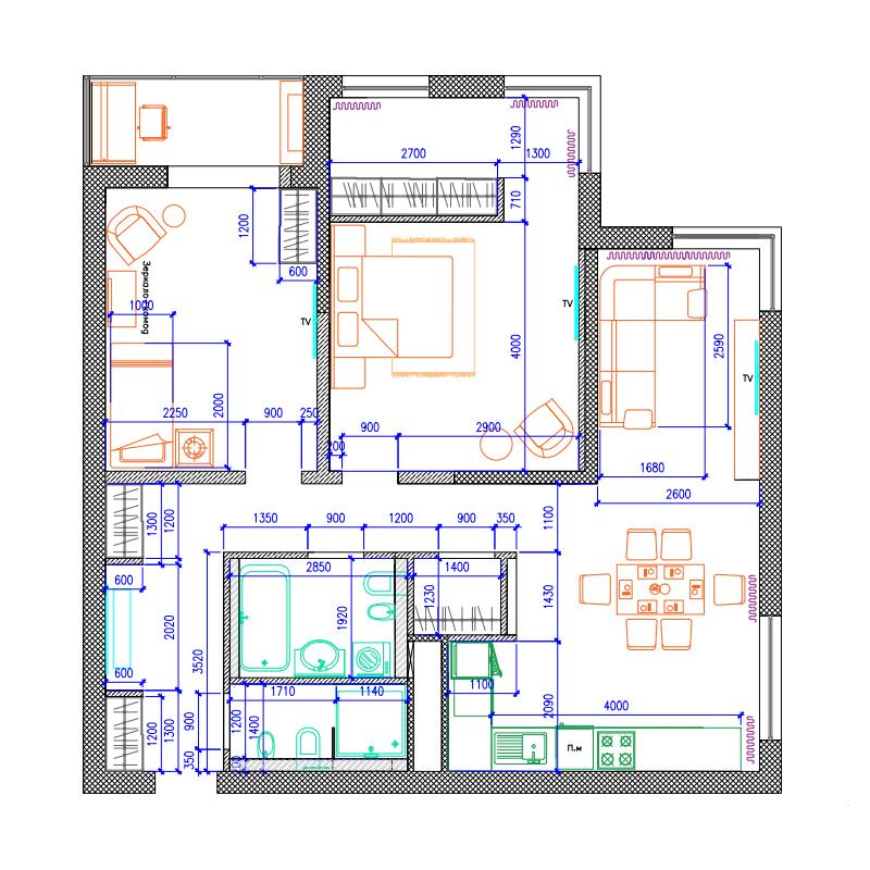 План трехкомнатной квартиры