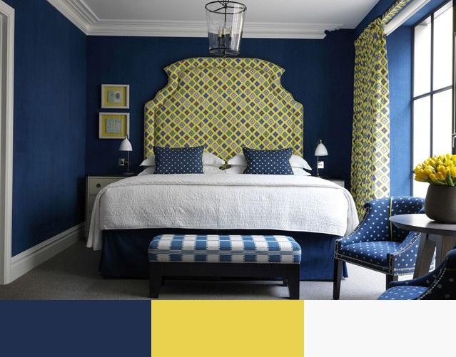 Интерьер в сине-желтых тонах